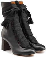 Chloé Leather Ankle Boots with Braided Ties