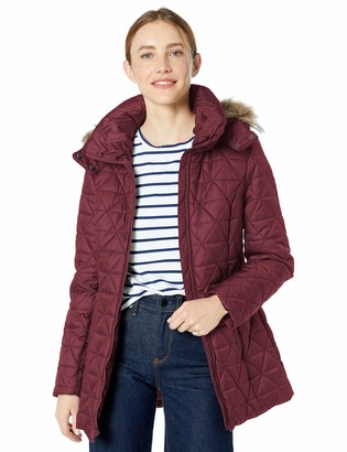 Andrew Marc Women's Chevron Quilted Down Jacket with Removable Faux Fur Hood