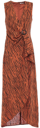 Ronny Kobo Wrap-effect Tiger-print Linen-blend Maxi Dress
