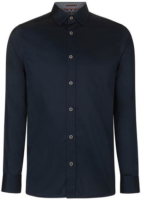 Ted Baker Otta Satin Effect Cotton Stretch Shirt