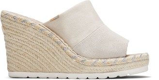 Toms Natural Shimmer Canvas Suede Women's Monica Mule Wedges
