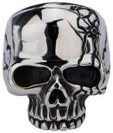 Inox Jewelry Stainless Steel Polish Skull Ring w/ Cracked Design (, Size)