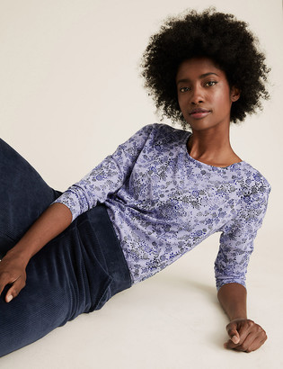 Marks and Spencer Floral Relaxed Long Sleeve Longline Top