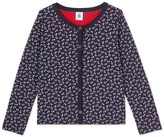 Petit Bateau Girls cardigan in print tube knit