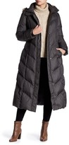 London Fog Missy Long Faux Fur Trim Quilted Jacket