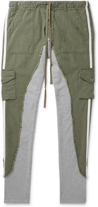Greg Lauren Baker 50/50 Slim-Fit Grosgrain-Trimmed Cotton-Blend And Jersey Sweatpants