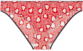 Stella McCartney Florence Fluttering Printed Stretch-mesh Briefs - Crimson