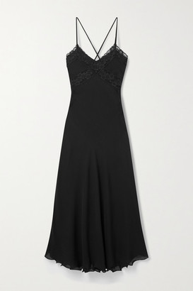 Loretta Caponi Benedetta Lace-trimmed Silk-georgette Nightdress - Black