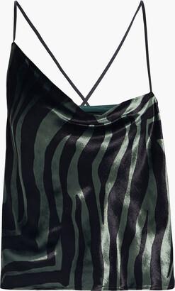 Mason by Michelle Mason Asymmetric Draped Zebra-print Velvet Camisole