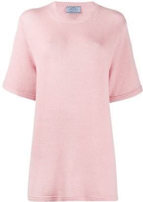 Prada cashmere oversized knitted T-shirt