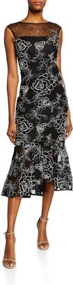 Rickie Freeman For Teri Jon Sleeveless Floral-Embroidered Lace Sheath Dress w/ Flounce Hem