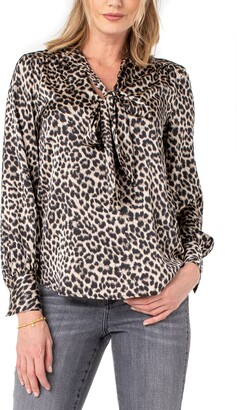 Liverpool Los Angeles Liverpool Leopard Print Tie Neck Sateen Blouse