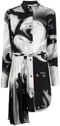 Off-White Abstract-Print Pleated-Insert Shirt Dress