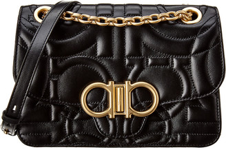 Salvatore Ferragamo Gancini Flap Quilted Leather Shoulder Bag