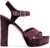 Sam Edelman Arlene Velvet Platform Sandals - Grape