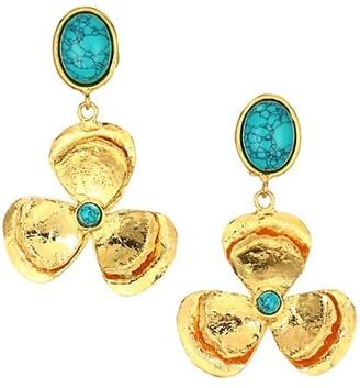 Sylvia Toledano Lucky Flower Goldtone & Turquoise Drop Clip-On Earrings