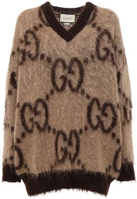 Gucci Gg Mohair Blend Knit V Neck Sweater