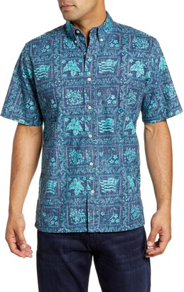 Reyn Spooner Lahaina Sailor Classic Fit Short Sleeve Button-Down Sport Shirt