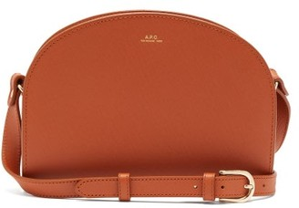 A.P.C. Half-moon Saffiano-leather Cross-body Bag - Womens - Tan