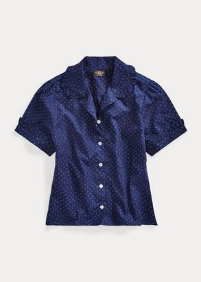 Ralph Lauren Ruffled Indigo Cotton Blouse