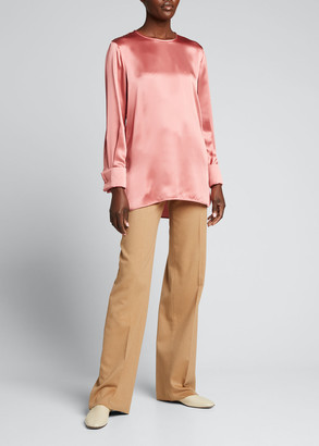 Max Mara Sava French-Cuff Silk Blouse