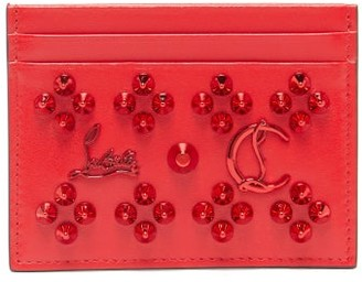 Christian Louboutin Kios Studded Leather Cardholder - Red