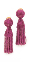 Oscar de la Renta Short Beaded Tassel Clip On Earrings