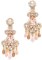 Oscar de la Renta Crystal Flower Bold Clip On Earrings
