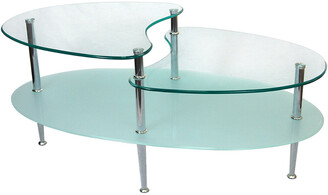 Hewson Glass Oval Living Room Metal Coffee Table
