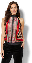 New York & Co. 7th Avenue Design Studio - Mock-Neck Halter Blouse - Medallion Print