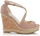 Jimmy Choo DAKOTA 120 Ballet Pink Nappa Leather Wedge with Tonal Metallic Raffia