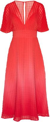Lela Rose Raised Plisse Chiffon Flutter Sleeve V-Neck Dress