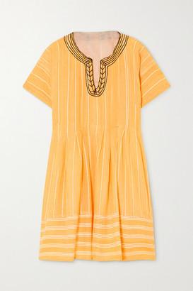 Lemlem Net Sustain Wubet Embroidered Striped Cotton-gauze Mini Dress - Yellow