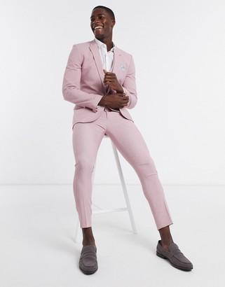 ASOS DESIGN wedding super skinny suit jacket in rose cross hatch