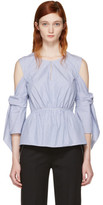 3.1 Phillip Lim Blue and White Striped Cold Shoulder Blouse