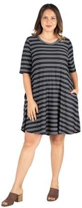 24/7 Comfort Womens Plus Size Knee Length Striped Pocket T Shirt Dress