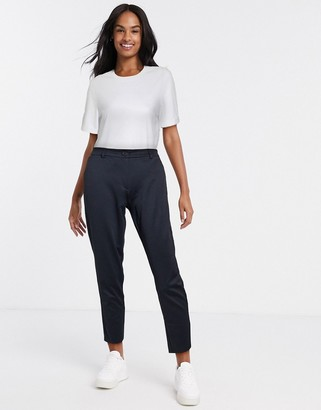 Pieces koja mid rise ankle grazer check trousers in black