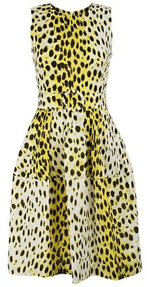 Samantha Sung Rachel Sleeveless Leopard-Print Linen Dress