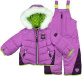 London Fog Purple & Green Puffer Coat & Bib Pants - Infant, Toddler & Girls