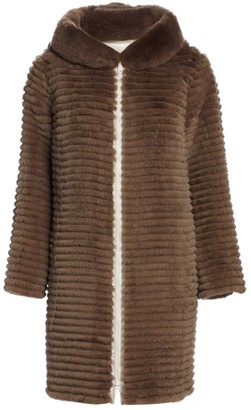 The Fur Salon Reversible Rabbit Fur Hooded Jacket