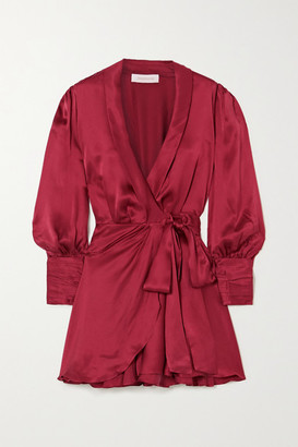 Zimmermann Ruffled Silk-satin Wrap Mini Dress - Burgundy