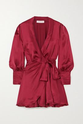 Zimmermann Ruffled Silk-satin Wrap Mini Dress - Burgundy