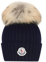 Moncler Navy Knitted Hat With Fur Pom Pom