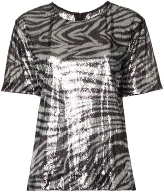 Halpern zebra stripe sequin embellished top