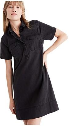 Madewell Short Sleeve Black Denim Shirt Dress (Lunar Wash) Women's Dress