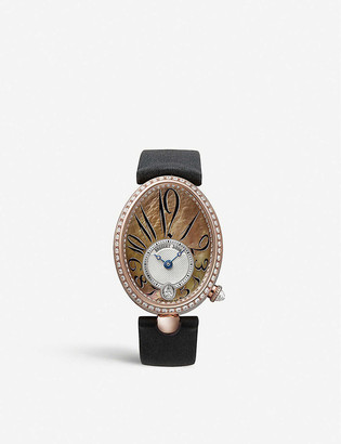 Breguet G8918BR5T964D00D Queen of Naples 18ct rose-gold, diamond and leather watch