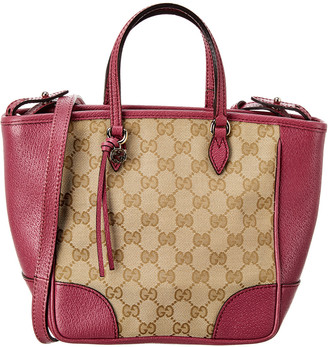 Gucci Brown Gg Canvas & Pink Leather Top-Handle Bag