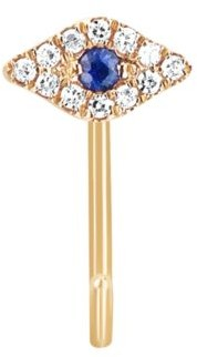 Ef Collection 14K Yellow Gold, Diamond & Blue Sapphire Evil Eye Single Loop Earring