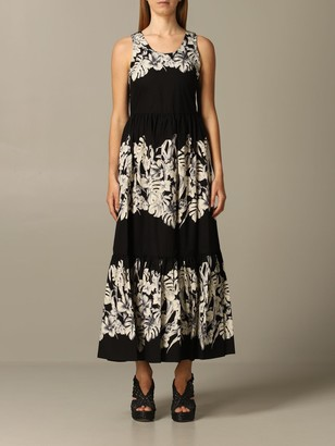 Twin-Set Long Dress With Leaf Print