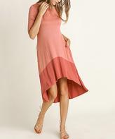 Blu Heaven Cinnamon Contrast-Hem Hi-Low Dress